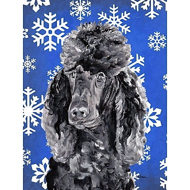 East Urban Home Winter Snowflakes Holiday 2-Sided Garden Flag; Poodle (Gray & Black)