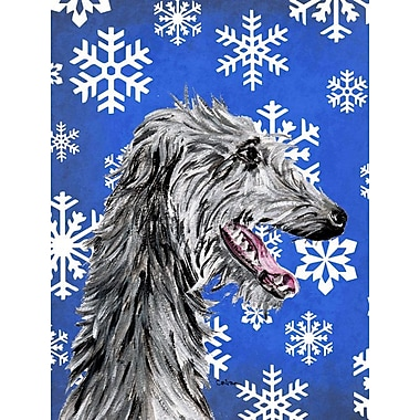 East Urban Home Winter Snowflakes Holiday 2-Sided Garden Flag; Scottish Deerhound (Black & White)
