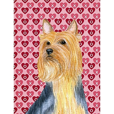 Caroline's Treasures Hearts Love and Valentine's Day 2-Sided Garden Flag; Silky Terrier