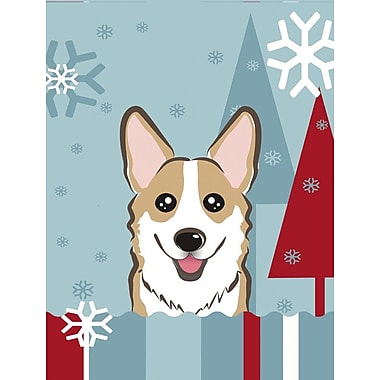 Caroline's Treasures Winter Holiday 2-Sided Garden Flag; Corgi (Sable)