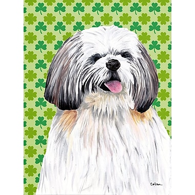 East Urban Home St. Patrick's Day Shamrock 2-Sided Garden Flag; Shih Tzu (White and Brown)