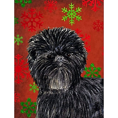 Caroline's Treasures Red and Green Snowflakes Holiday Christmas 2-Sided Garden Flag; Affenpinscher