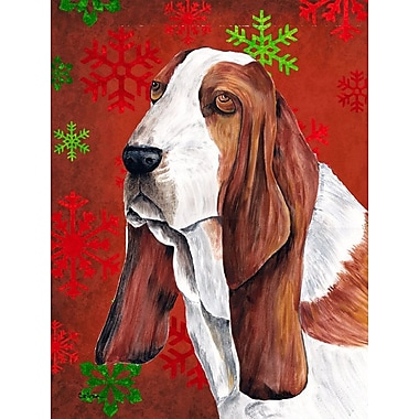 Caroline's Treasures Red and Green Snowflakes Holiday Christmas 2-Sided Garden Flag; Basset Hound 1