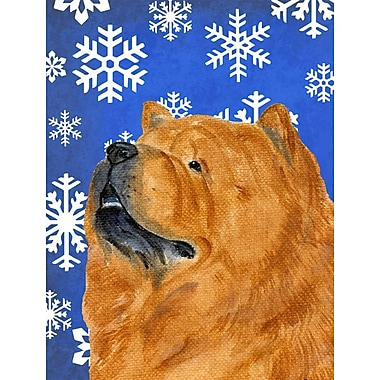 East Urban Home Winter Snowflakes Holiday House Vertical Flag; Chow Chow (Brown)
