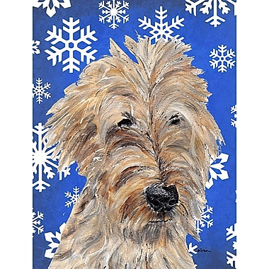 East Urban Home Winter Snowflakes Holiday House Vertical Flag; Golden Doodle 1
