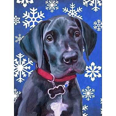 East Urban Home Winter Snowflakes Holiday House Vertical Flag; Great Dane Puppy