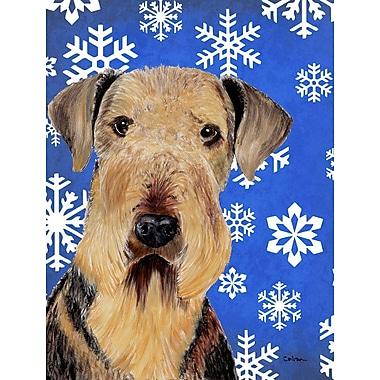 East Urban Home Winter Snowflakes Holiday House Vertical Flag; Airedale (Brown)