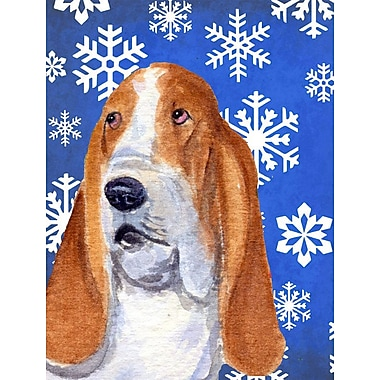 East Urban Home Winter Snowflakes Holiday House Vertical Flag; Basset Hound 5