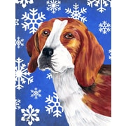 East Urban Home Winter Snowflakes Holiday House Vertical Flag; Beagle
