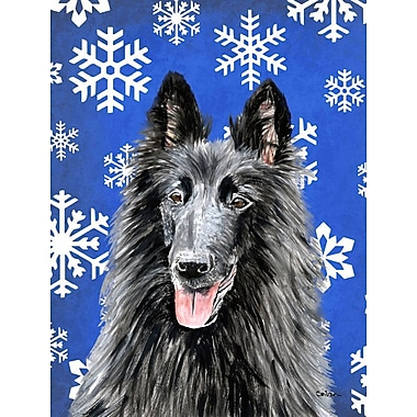 East Urban Home Winter Snowflakes Holiday House Vertical Flag; Belgian Sheepdog