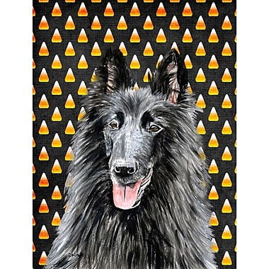 East Urban Home Candy Corn Halloween House Vertical Flag; Belgian Sheepdog