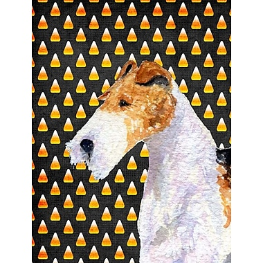 East Urban Home Candy Corn Halloween House Vertical Flag; Fox Terrier (White & Orange)