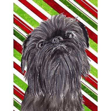 Caroline's Treasures Candy Cane Christmas 2-Sided Garden Flag; Brussels Griffon (Black )