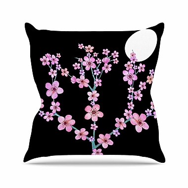 East Urban Home Julia Grifol Cherry Blossom at Night Outdoor Throw Pillow; 16'' H x 16'' W x 5'' D