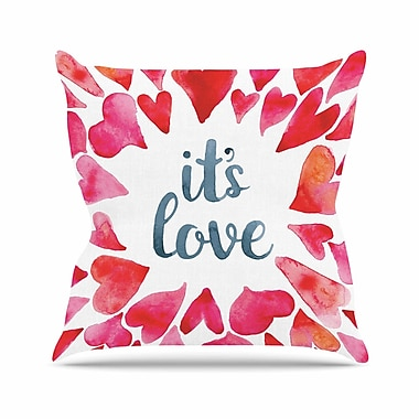 East Urban Home It's Love Outdoor Throw Pillow; 16'' H x 16'' W x 5'' D