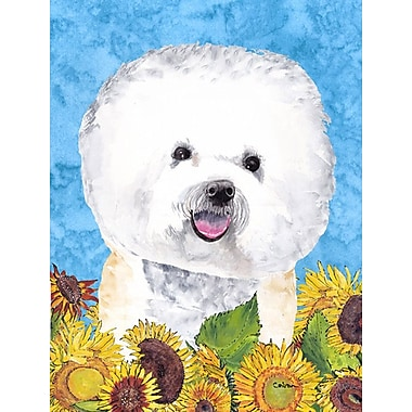 East Urban Home Dog and Sunflowers 2-Sided Garden Flag; Bichon Frise (Gray and white)