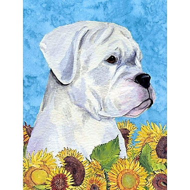 East Urban Home Dog and Sunflowers 2-Sided Garden Flag; Boxer (Gray and white)