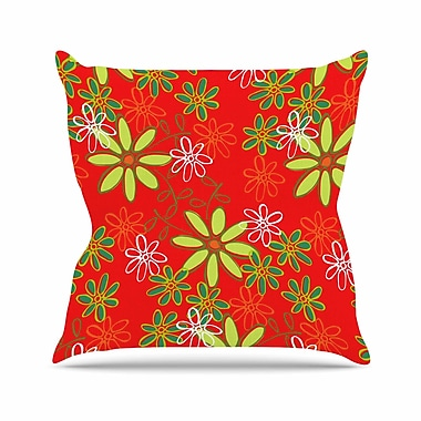 East Urban Home Holly Helgeson Daisy Mae Floral Outdoor Throw Pillow; 16'' H x 16'' W x 5'' D