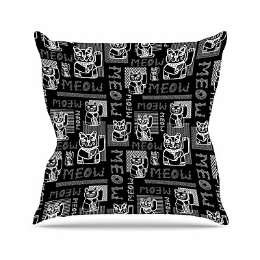 East Urban Home Jane Smith Meow Repeat Outdoor Throw Pillow; 18'' H x 18'' W x 5'' D