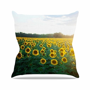 East Urban Home Chelsea Victoria Sunflower Fields Floral Photography Outdoor Throw Pillow