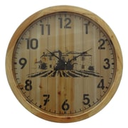 Gracie Oaks Oversized Wooded 23.75'' Wall Clock