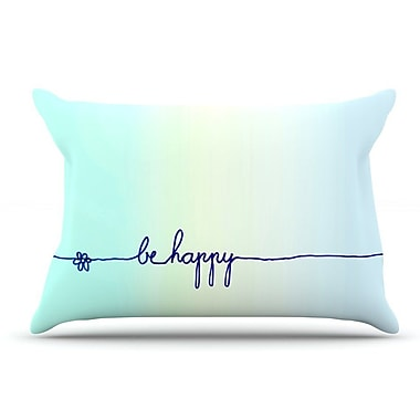 East Urban Home Monika Strigel 'Be Happy Aqua' Simple Pillow Case
