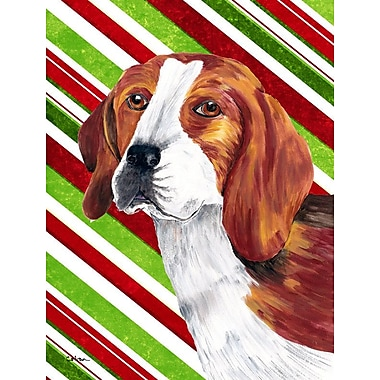Caroline's Treasures Candy Cane Holiday Christmas House Vertical Flag; Beagle