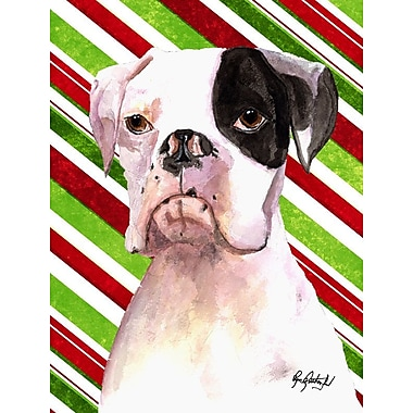Caroline's Treasures Candy Cane Holiday Christmas House Vertical Flag; Boxer (Tan)