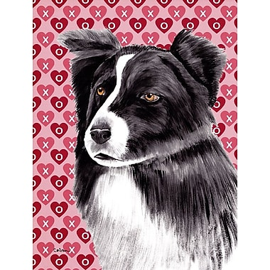 Caroline's Treasures Dalmatian Hearts Love and Valentine's Day House Vertical Flag; Border Collie