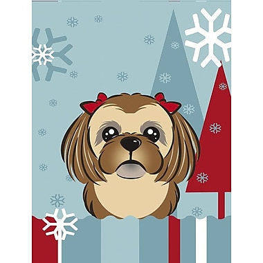 Caroline's Treasures Winter Holiday Vertical Flag; Shih Tzu (Beige & Brown)