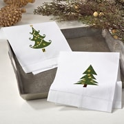 Embroidered Christmas Tree Motif Holiday Hemstitched Linen Cotton Guest Hand Towel (Set of 4)