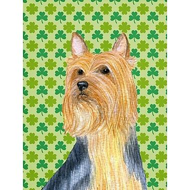 Caroline's Treasures St. Patrick's Day Shamrock House Vertical Flag; Silky Terrier