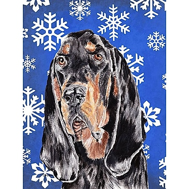 East Urban Home Winter Snowflakes Holiday House Vertical Flag; Coonhound (Black)