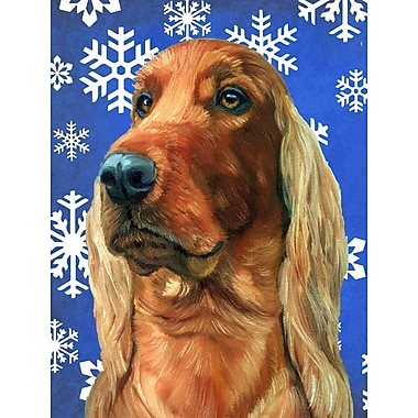 East Urban Home Winter Snowflakes Holiday House Vertical Flag; Irish Setter Dog (White & Biege)