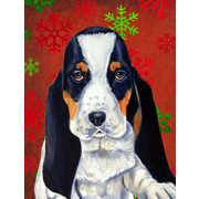 The Holiday Aisle Snowflakes Christmas House Vertical Flag; Basset Hound 3