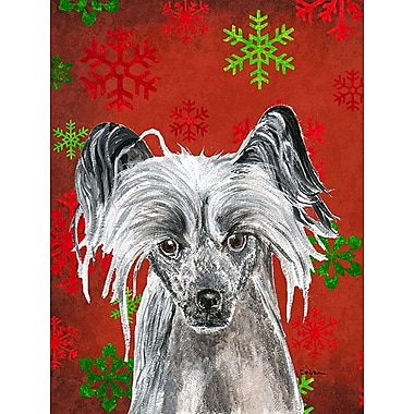 The Holiday Aisle Snowflakes Christmas House Vertical Flag; Chinese Crested (Gray)