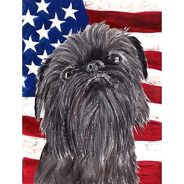 Caroline's Treasures USA American House Vertical Flag; Brussels Griffon (Gray)