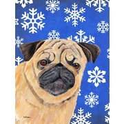 East Urban Home Winter Snowflakes Holiday House Vertical Flag; Pug Winter (Beige)