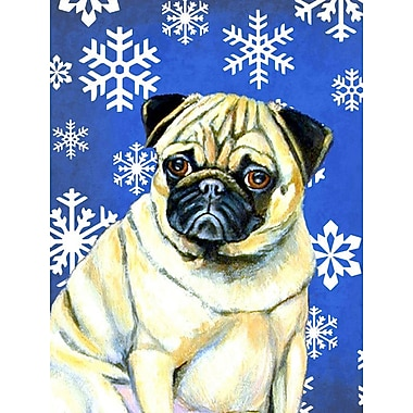 East Urban Home Winter Snowflakes Holiday House Vertical Flag; Pug Winter (Yellow)