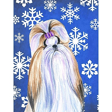 East Urban Home Winter Snowflakes Holiday House Vertical Flag; Shih Tzu (White & Biege)