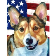 Caroline's Treasures American Flag 2-Sided Garden Flag; Corgi (Beige & White)