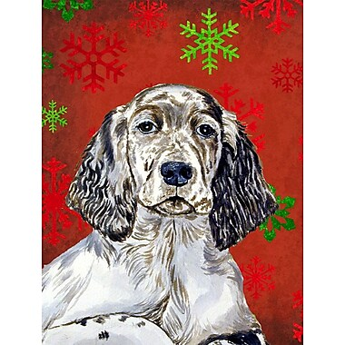 Caroline's Treasures Red and Green Snowflakes Holiday Christmas 2-Sided Garden Flag; English Setter