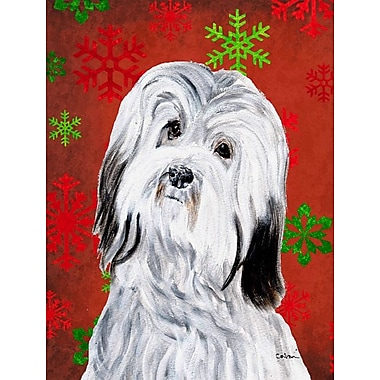 Caroline's Treasures Red and Green Snowflakes Holiday Christmas 2-Sided Garden Flag; Havanese