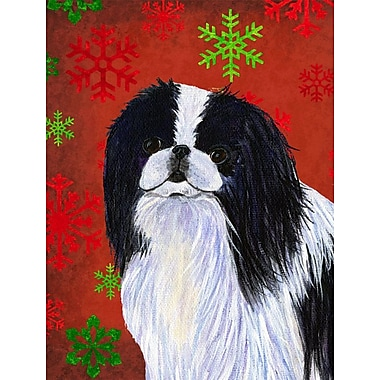 Caroline's Treasures Red and Green Snowflakes Holiday Christmas 2-Sided Garden Flag; Japanese Chin