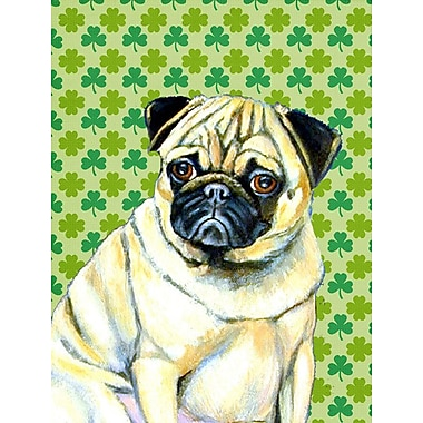East Urban Home St. Patrick's Day Shamrock 2-Sided Garden Flag; Pug (Beige and Cream)