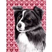 Caroline's Treasures Hearts Love and Valentine's Day 2-Sided Garden Flag; Border Collie