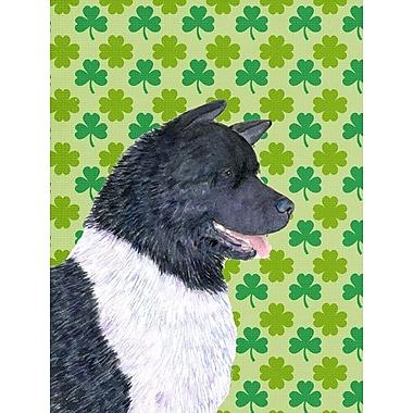 East Urban Home St. Patrick's Day Shamrock 2-Sided Garden Flag; Akita (White and Black)