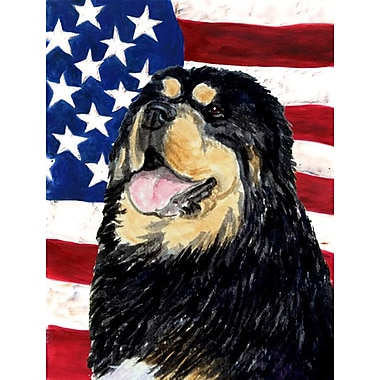 Caroline's Treasures American Flag 2-Sided Garden Flag; Tibetan Mastiff