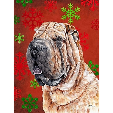 Caroline's Treasures Red and Green Snowflakes Holiday Christmas 2-Sided Garden Flag; Shar Pei Dog