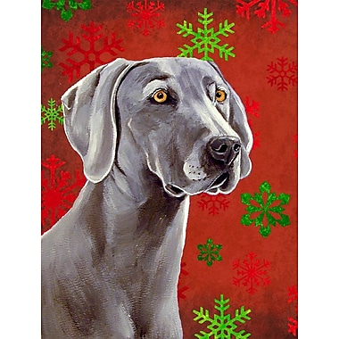 Caroline's Treasures Red and Green Snowflakes Holiday Christmas 2-Sided Garden Flag; Weimaraner